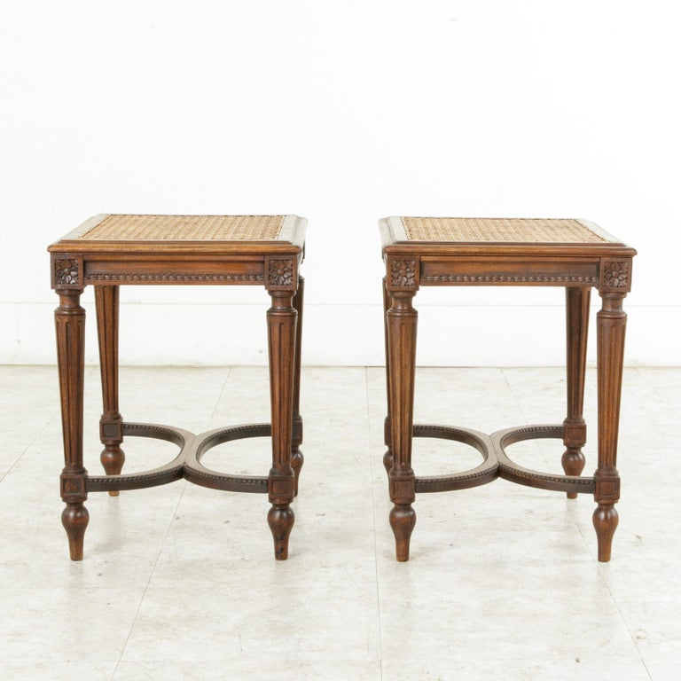 Pair of Early 20th Century French Louis XVI Style Walnut Benches, Caned Seats For Sale 4