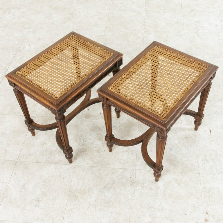 Pair of Early 20th Century French Louis XVI Style Walnut Benches, Caned Seats For Sale 5