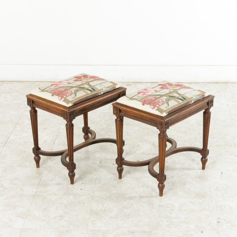 Pair of Early 20th Century French Louis XVI Style Walnut Benches, Caned Seats For Sale 6