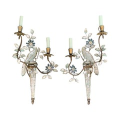 Pair of Early 20th Century French Maison Bagues Parrot Two-Light Sconces
