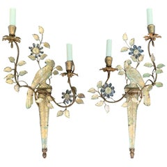 Pair of Early 20th Century French Maison Baguès Parrot Two-Light Sconces
