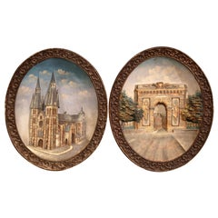 Pair of Early 20th Century French Oval Hand Painted Ceramic Wall Platters