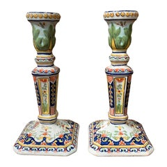 Pair of Early 20th Century French Painted Faience Candlesticks from Normandy