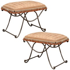 Pair of Early 20th Century French Polished Wrought Iron Stools with Upholstery