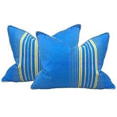 Pair of Early 20th Century French Striped Cotton Pillows