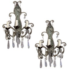 Pair of Early 20th Century French Wall Sconces Lights with Crystal Beads