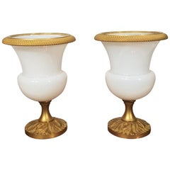 Pair of Early 20th Century French White Opaline Vases with Dore Bronze Mounts