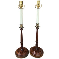 Pair of Early 20th Century George III Style Carved Wood Candlesticks as Lamps