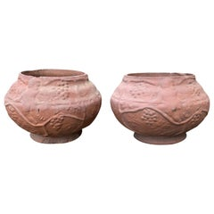 Pair of Early 20th Century Georgia Terracotta Pots, Signed William Herman Thomas