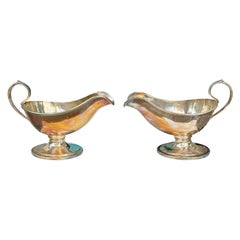 Pair of Early 20th Century German Wurtemberg Silver Gravy Boats, Signed