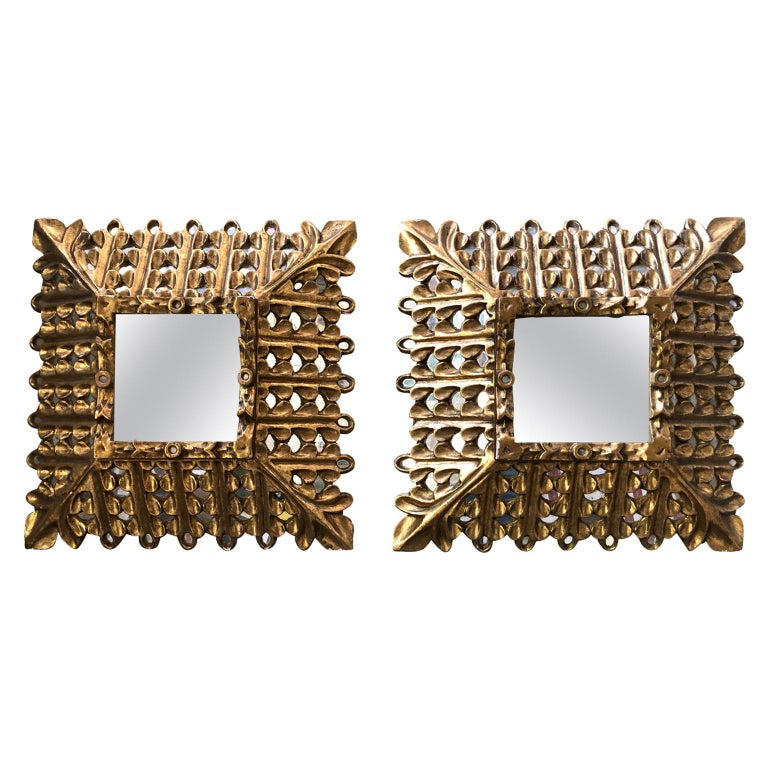 Pair of Early 20th Century Giltwood Mirrors For Sale