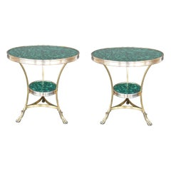 Pair of Early 20th Century Gueridon Malachite Tables