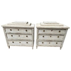 Pair of Early 20th Century Gustavian Style Painted Chest of Drawers