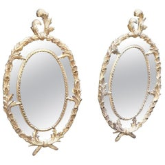 Pair of mid 20th Century Hand Carved Giltwood Georgian Style Gilt Mirrors