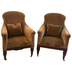 Pair of Early 20th Century High Back Tub Chairs