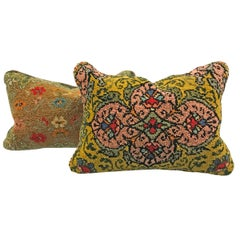 Pair of Early 20th Century Hungarian Hook Rug Pillows