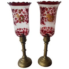 Pair of Early 20th Century Hurricane Candle Lamps with Painted Glass