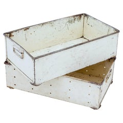 Pair of Early 20th Century Industrial Steel Storage Boxes