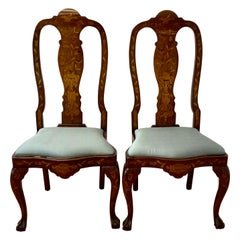 Pair of Early 20th Century Inlaid Chippendale Style Side Chairs