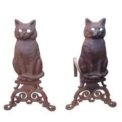 Pair of Early 20th Century Iron Cat Andirons