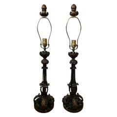 Pair of Early 20th Century Iron Lamps with Gilt Details