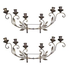 Pair of Early 20th Century Italian Brass Six-Light Sconces with Tole, Wood, Iron