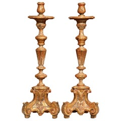 Pair of Early 20th Century, Italian Carved Giltwood and Painted Candlesticks