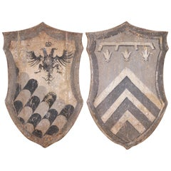 Pair of Early 20th Century Italian Carved Painted Wall Hanging Shields
