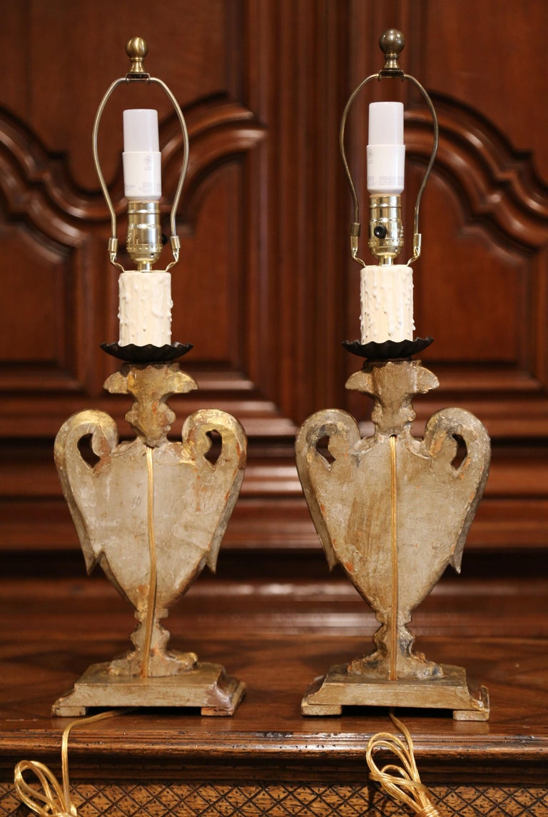 Pair of Early 20th Century Italian Carved Patinated Silver and Gilt Table Lamps For Sale 7
