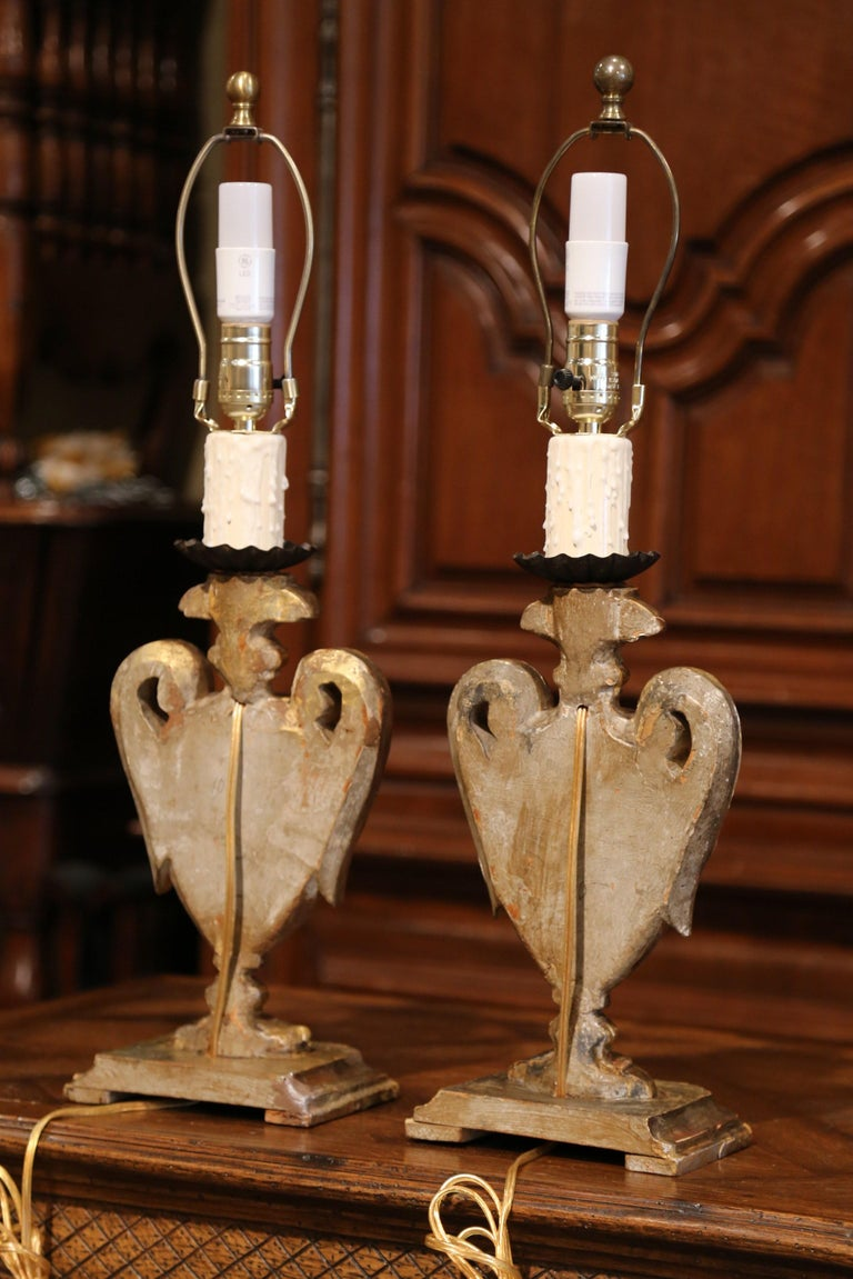 Pair of Early 20th Century Italian Carved Patinated Silver and Gilt Table Lamps For Sale 8