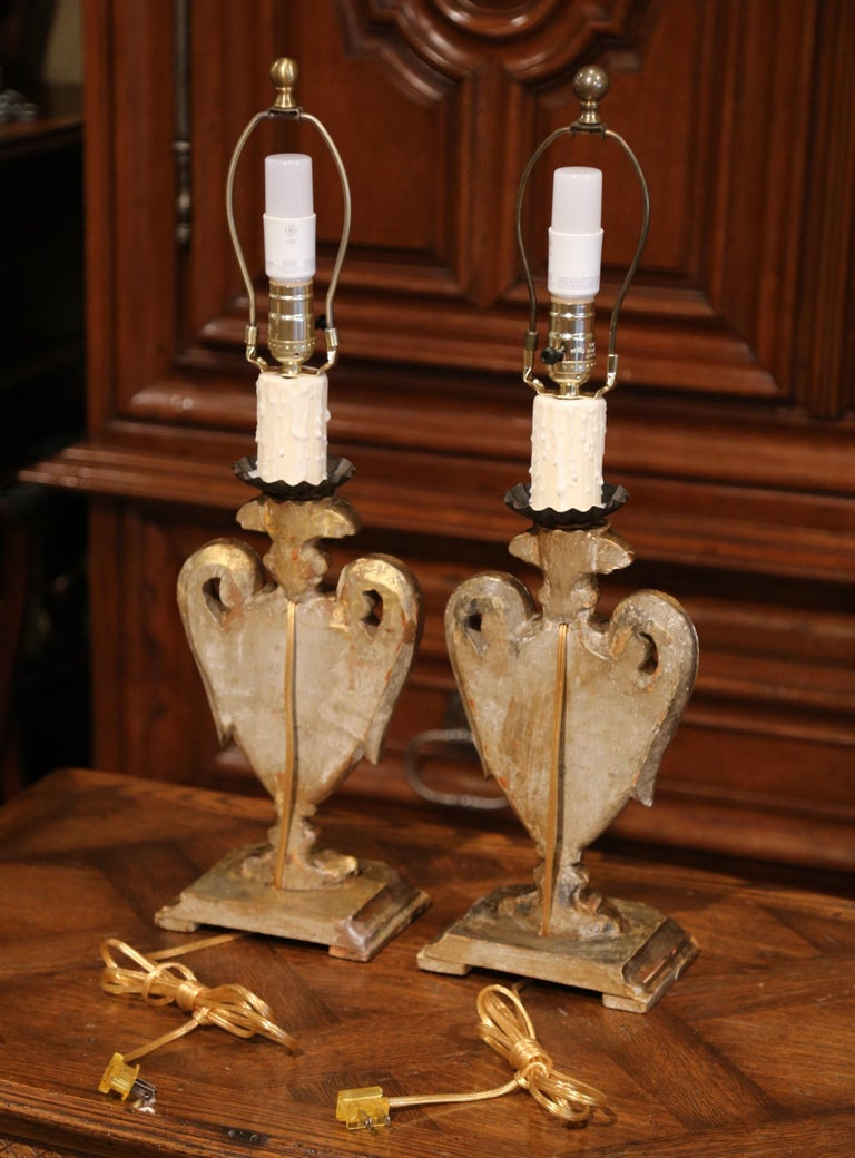 Pair of Early 20th Century Italian Carved Patinated Silver and Gilt Table Lamps For Sale 9