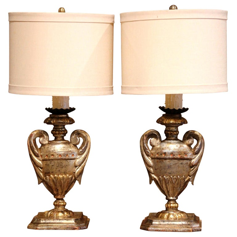 Pair of Early 20th Century Italian Carved Patinated Silver and Gilt Table Lamps For Sale