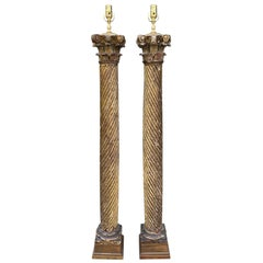 Pair of Early 20th Century Italian Giltwood Columns as Floor Lamps