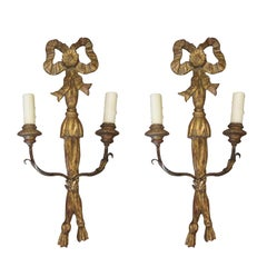 Pair of Early 20th Century Italian Giltwood Two-Arm Sconces