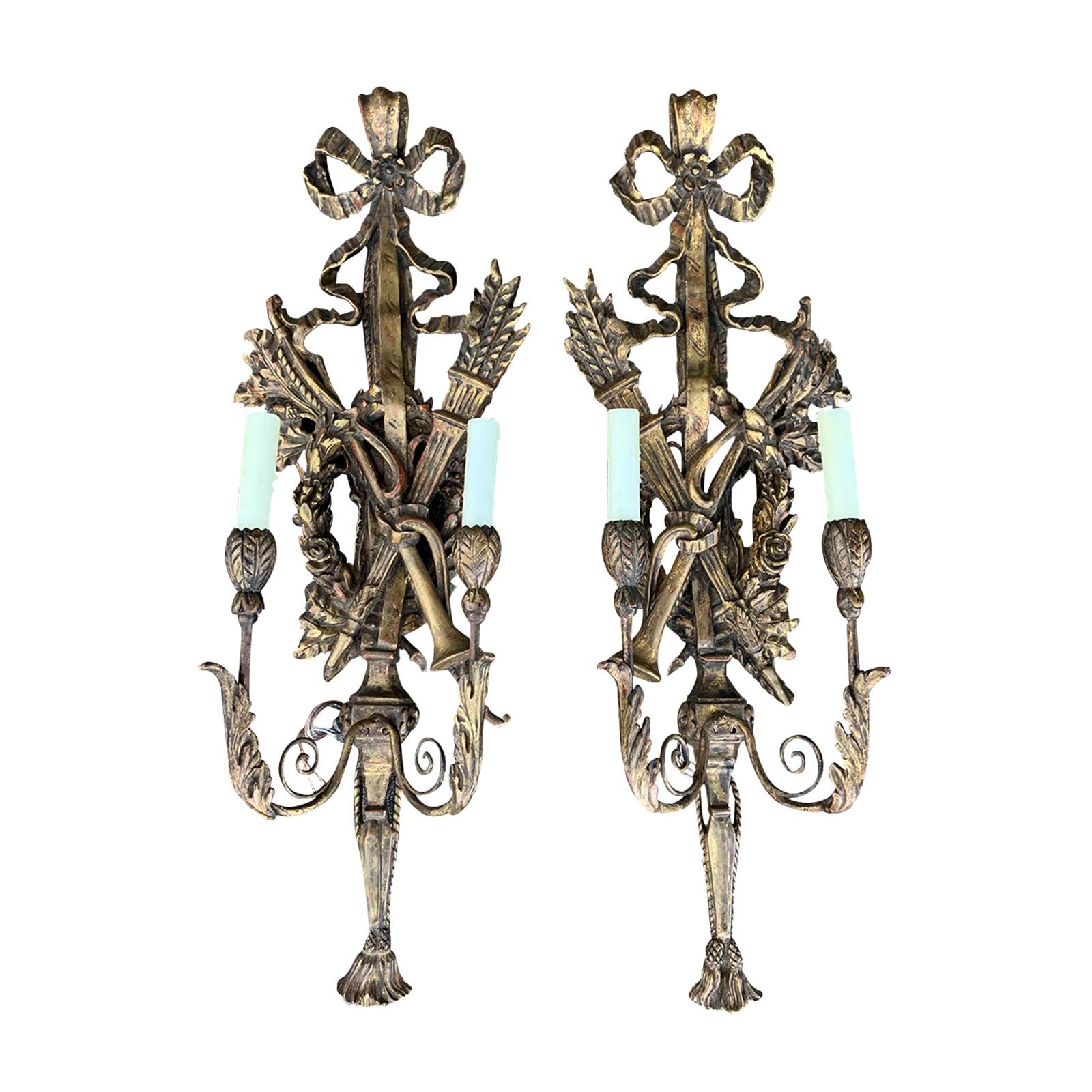 Pair of Early 20th Century Italian Hand Carved Giltwood Sconces