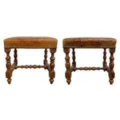 Pair of Early 20th Century Italian Leather Stools