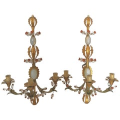 Pair of Early 20th Century Italian Murano Tole Ware Opaline Wall Lights Sonces