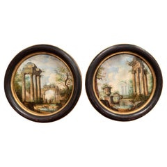 Pair of Early 20th Century Italian Paintings on Metal in Blackened & Gilt Frames