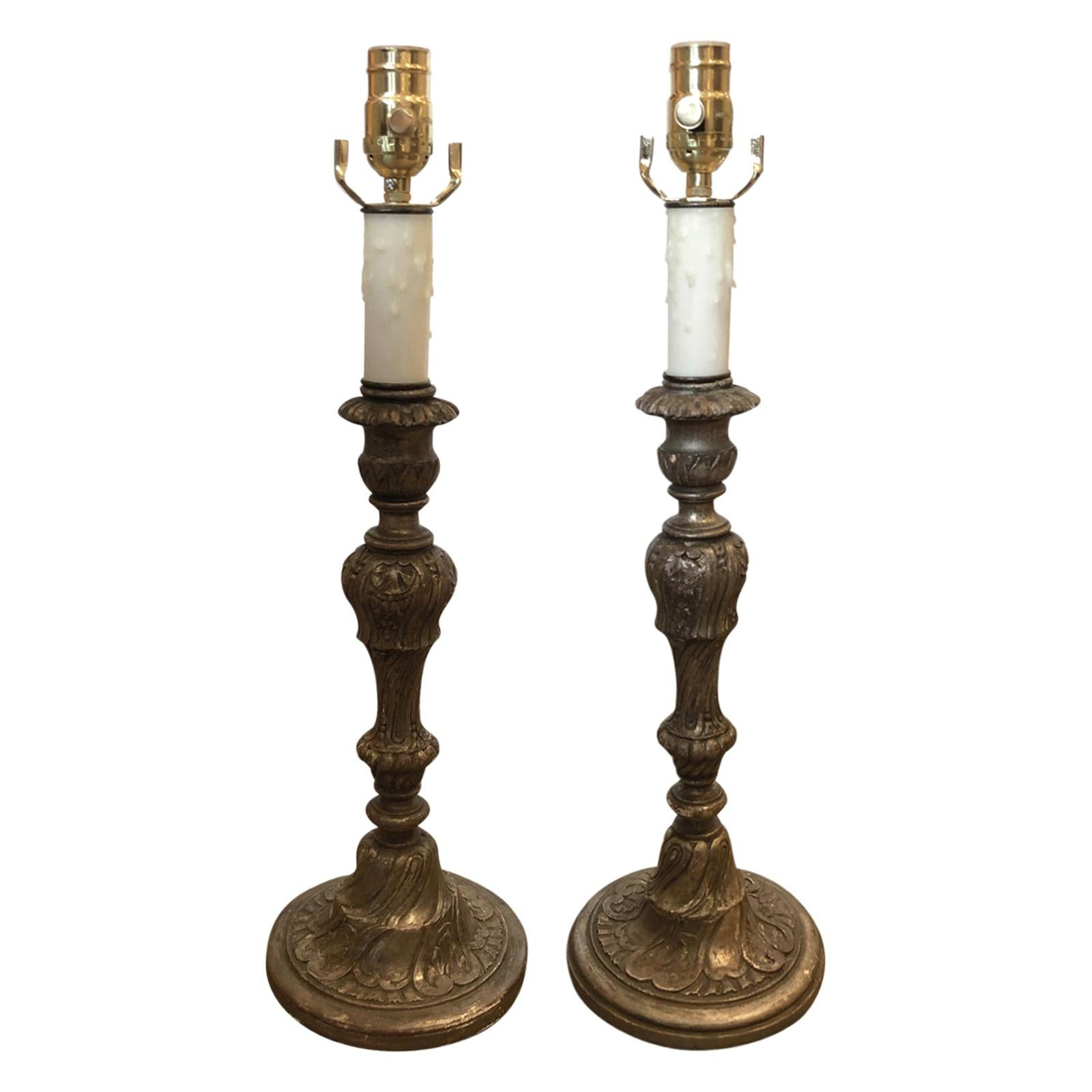 Pair of Early 20th Century Italian Silver Gilt Candlestick Lamps