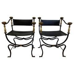 Pair of Early 20th Century Italian Wrought Iron & Leather Savonarola Chairs