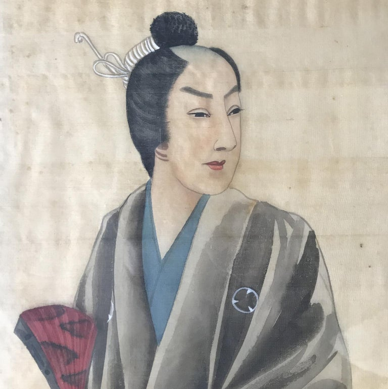 Art Deco Pair of Early 20th Century Japanese Portraits Painted on Silk For Sale