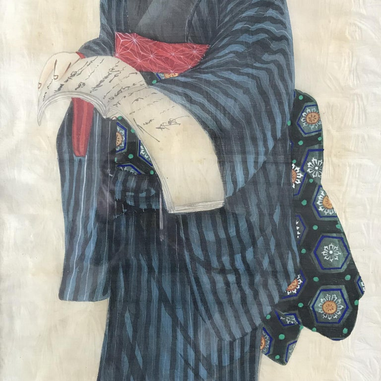 Hand-Painted Pair of Early 20th Century Japanese Portraits Painted on Silk For Sale