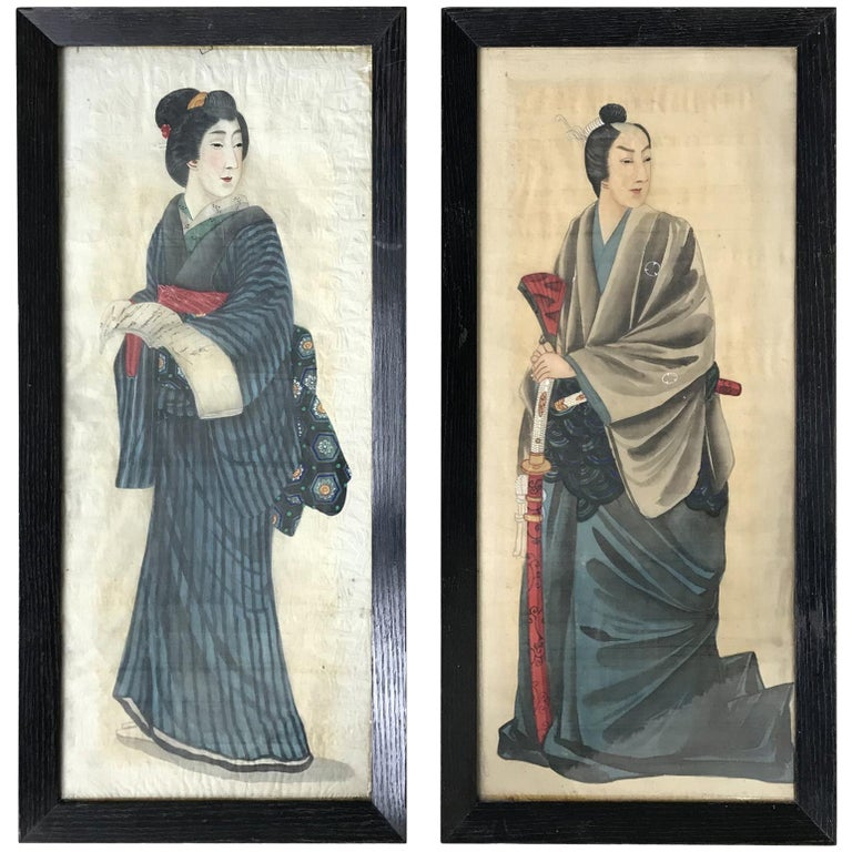 Pair of Early 20th Century Japanese Portraits Painted on Silk For Sale