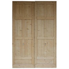 Pair of Early 20th Century Large Pine Sliding Doors from Switzerland