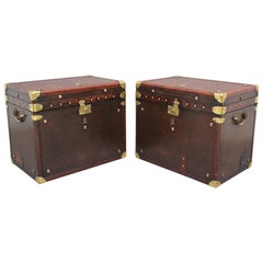 Pair of Early 20th Century Leather Bound Ex Army Trunks