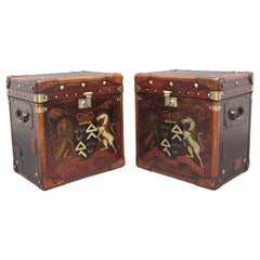 Pair of Early 20th Century Leather Bound Ex-Army Trunks