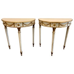 Pair of Early 20th Century Louis XVI Style Parcel-Gilt Side Tables