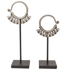 Pair of Early 20th Century Miao Silver Earrings