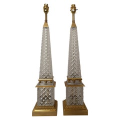 Pair of Early 20th Century Obelisk Cut Crystal and Bronze Lamps