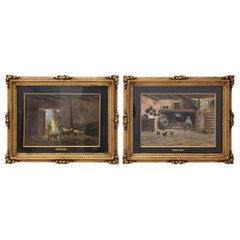 Pair of Early 20th Century Oil Paintings by Mario Fattori, circa 1920s